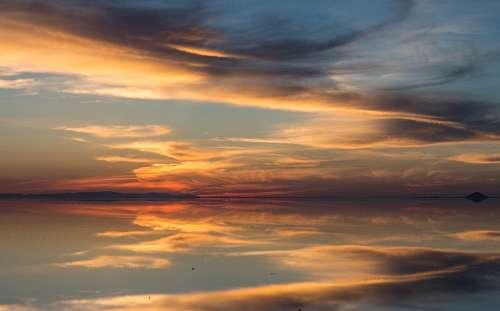 Atardecer, Ocaso, puesta de sol, Paisaje, nubes, N