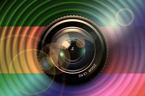 Ilustracion de lente de camara reflex