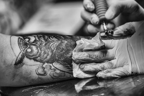Artista tatuando una lechuza