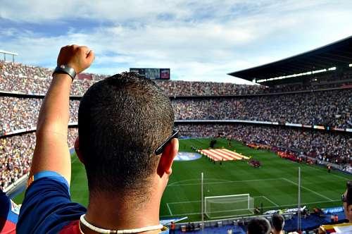 Fanatico en un partido de futbol