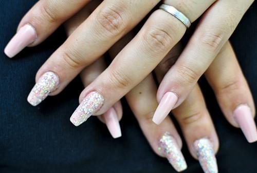 Uñas acrilicas con glitter