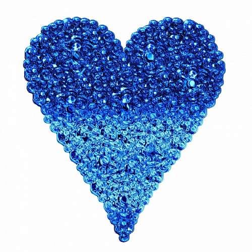 Corazón azul formado por burbujas