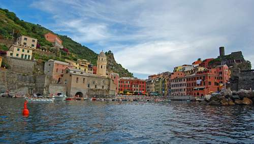 imágenes gratis Vernazza dalla barca, Italia,