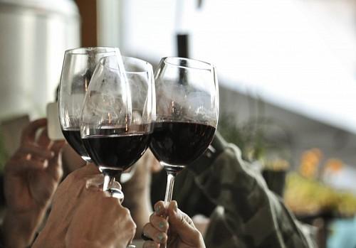 Grupo de amigos brindando por año nuevo con copas de vino