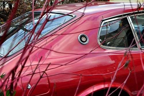 auto, rojo, antiguo, coche, carro, vidrio, reflejo
