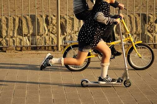niño, niños, dos, niñez, bicicleta, patin, patinet