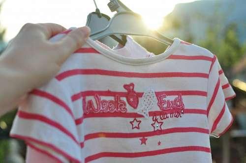 ropa, mujer, remera, rosa, colgar, secado, secar,