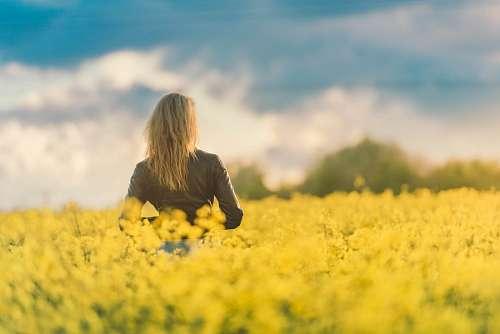 Mujer en un campo de flores amarillas