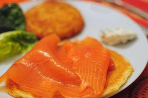 salmon, rosado, sushi, plato, interior, comida, sa