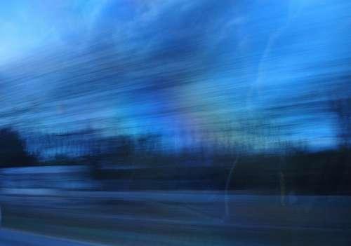 velocidad, efecto barrido, atardecer, ruta, viaje,