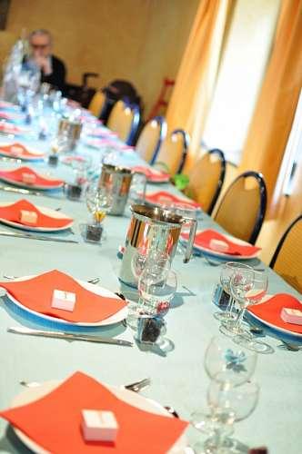 mesa, interior, servido, cubierto, cubiertos, almu