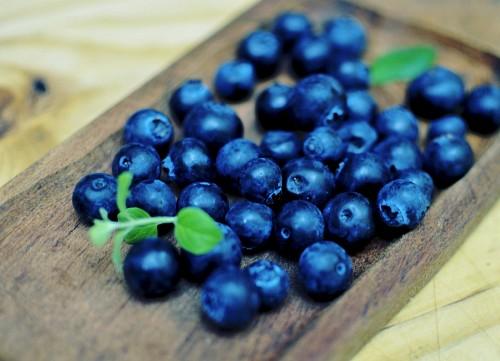 Arándanos azules con hojas de menta