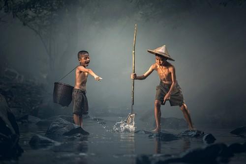 imágenes gratis Niños pescando