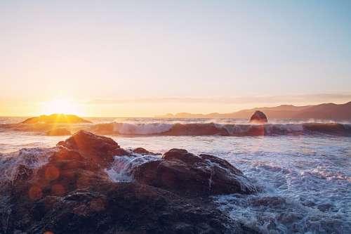 imágenes gratis Atardecer en el mar
