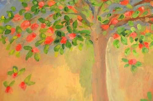 Pintura de un Arbol al oleo