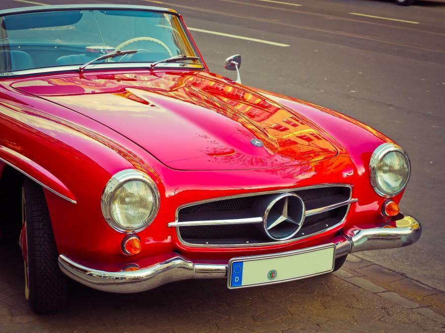 Mercedes Benz, auto, coche, carro, descapotable, deportivo, insignea, simbolo, rojo, antiguo, retro, coleccion, lujo,