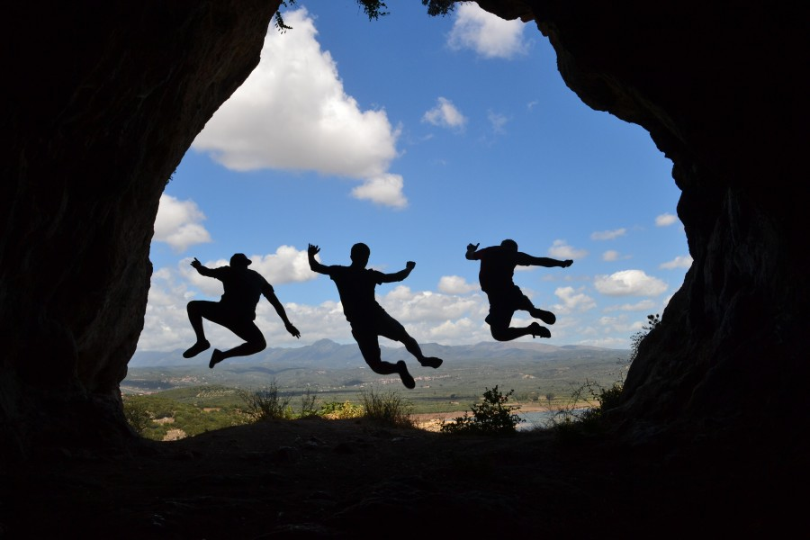 sombra, salto, amistad, vigor, punto de vista, grecia, silueta, paisaje, diversión, jóvenes, disfrutando, ejercicio, amigos