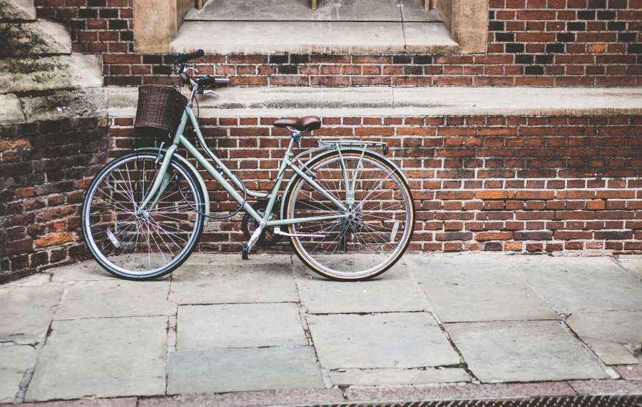 bicicleta, antiguo, vereda, urbano, ciudad, dia, nadie,