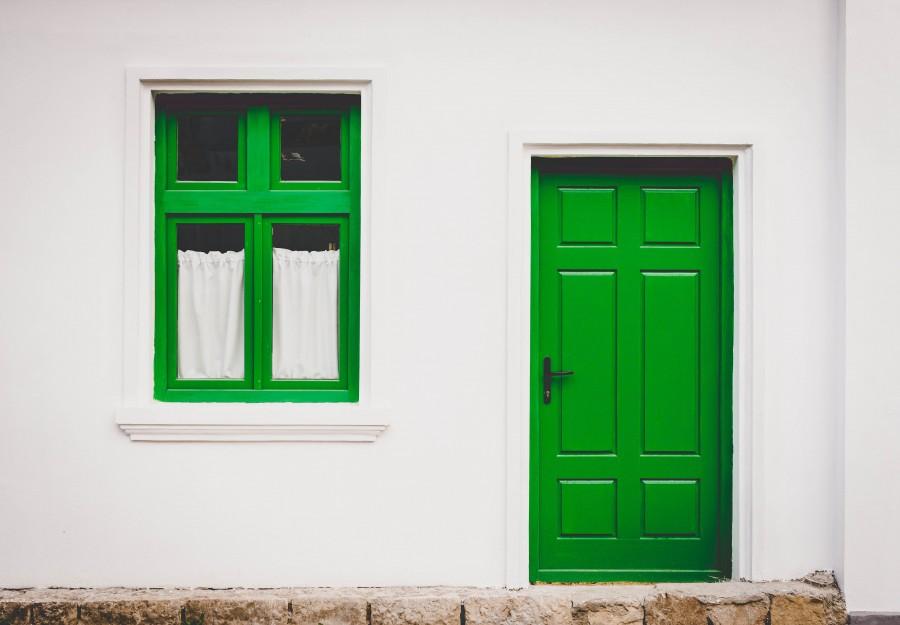 fachada, puerta, ventana, verde, casa, vista de frente,