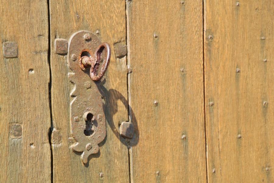 llave, antigua, antiguo, hierro, metal, puerta, cerradura, oxido, nadie, madera,