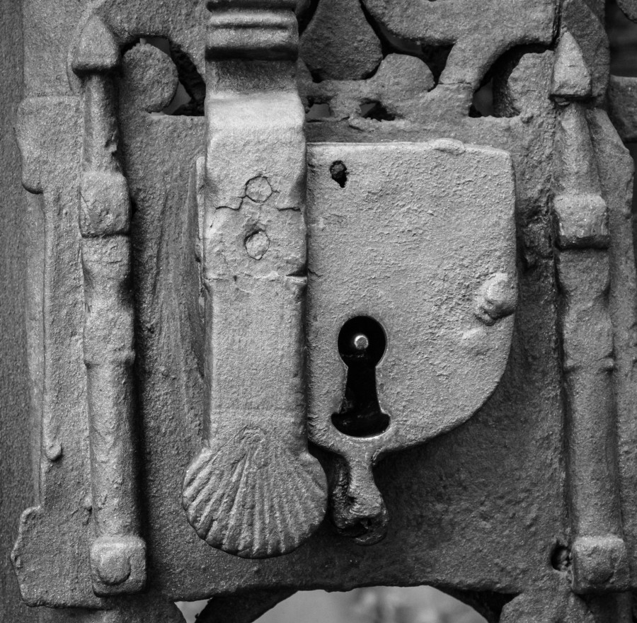blanco y negro, cerradura, antiguo, puerta, concepto, nadie, cerrado,