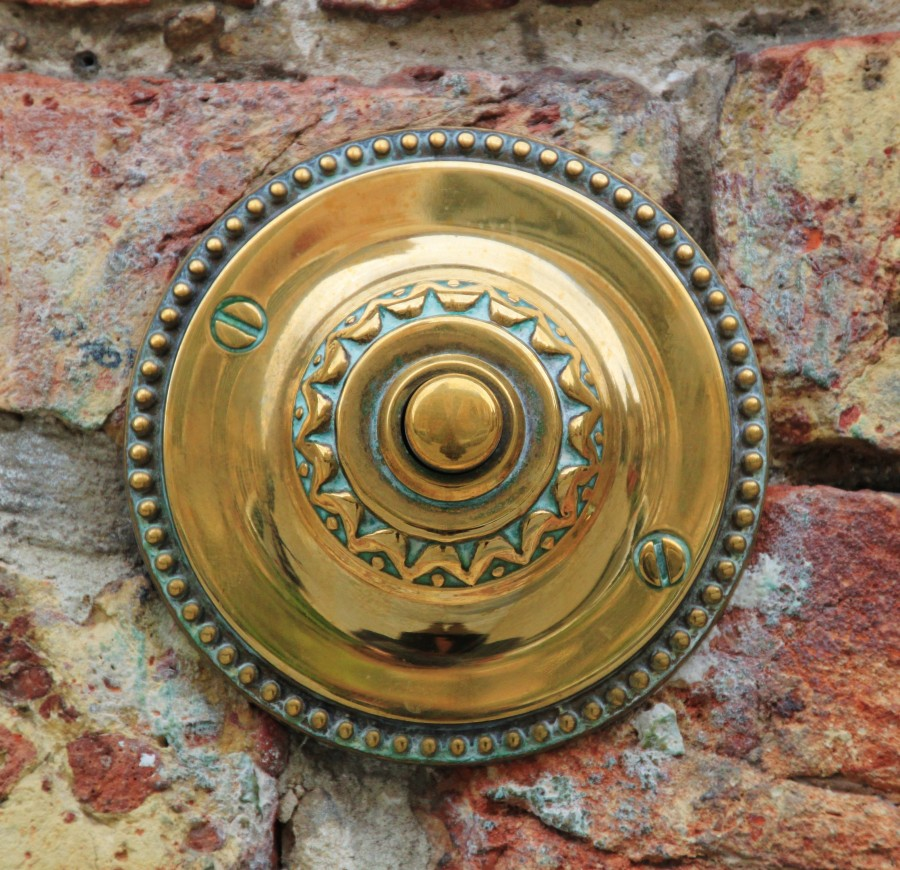 timbre, puerta, llamar, concepto, boton, primer plano, casa, cobre, metal,