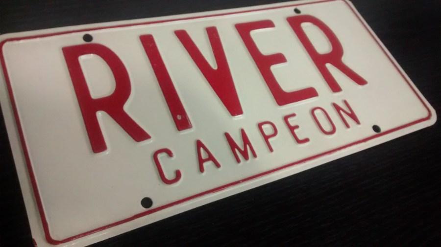 Cartel, river,fútbol,chapa,metal
