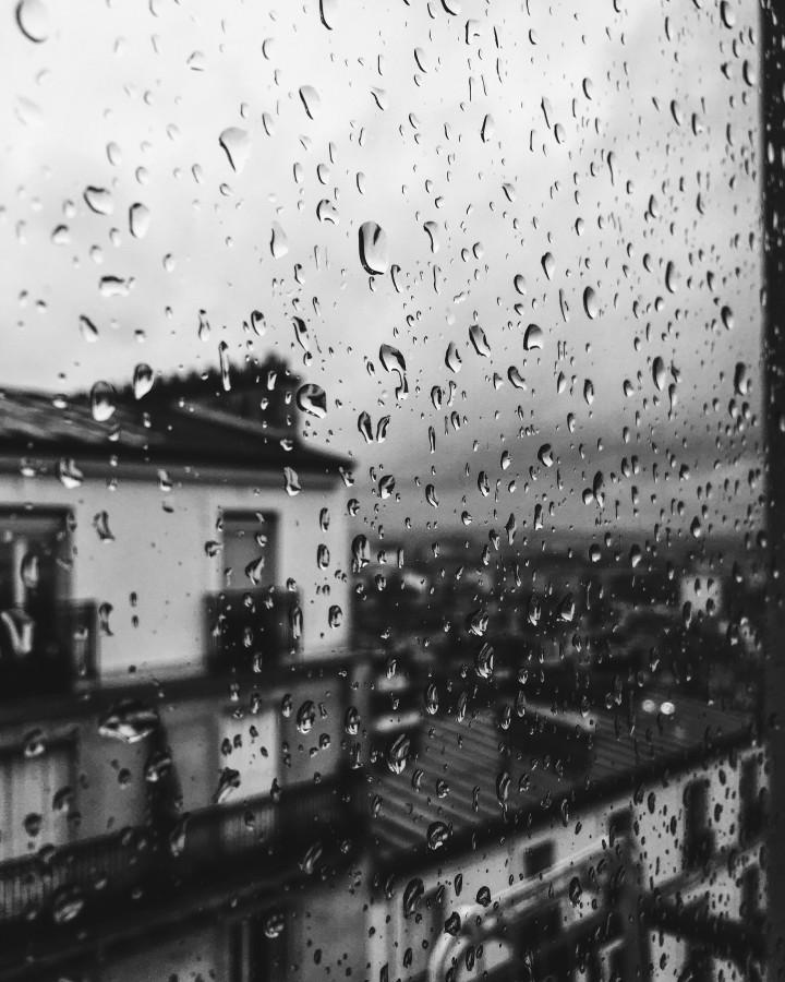 lluvia, gotas, ventana, gota, blanco y negro, dia, mal tiempo, lluvioso, urbano, tristeza, melancolia, nadie,