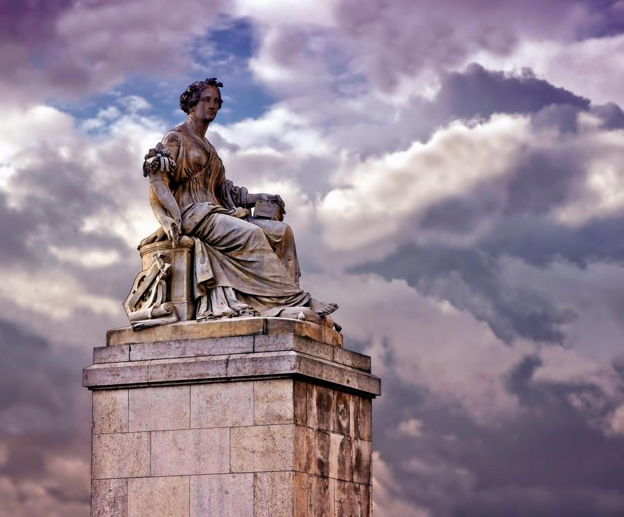 parís, francia, monumento, escultura, abundantia, hito, arte, artística, cielo, nubes ,paisaje