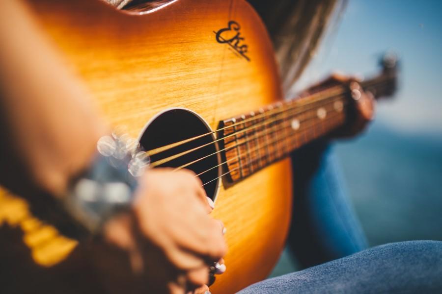 guitarra, musica, instrumento, cuerdas, manos