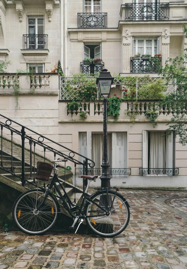 parís, francia, viaje, turismo, europa, paisaje, bicicleta, paseo, edificios, arbustos, farol, escalera, balcón, paisaje europeo