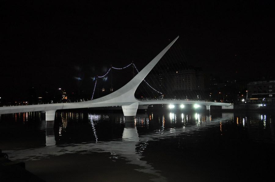 Puente de la Mujer, Buenos Aires, Argentina, noche, Nocturna, Monumento, Puerto Madero,