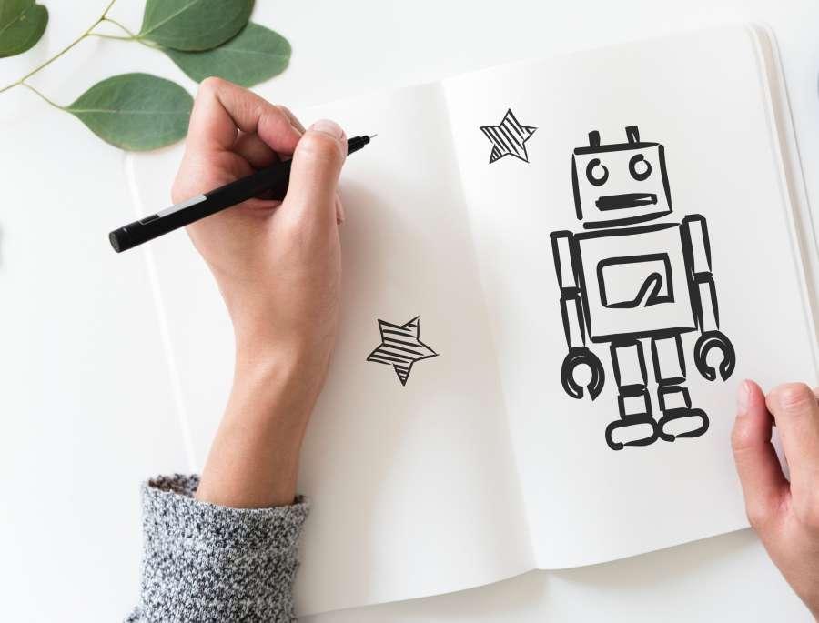 robot, dibujo, concepto, tecnologia, caricatura, dibujar, lapiz, arte,