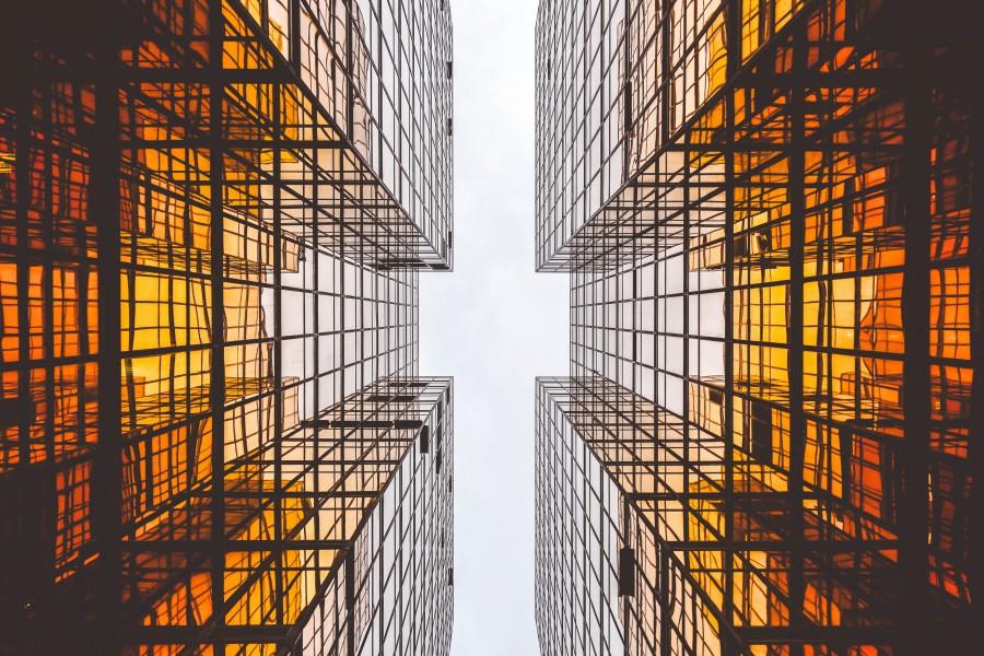 edificio, edificios, moderno, futurista, arquitectura, nadie, vista de abajo, geometria, concepto,