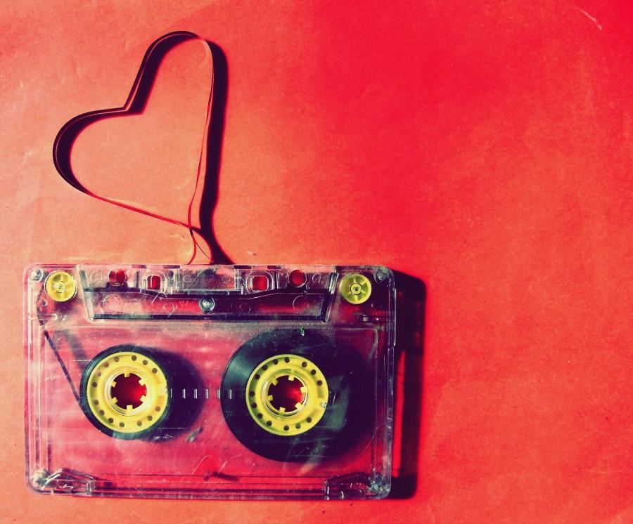amor, cassete, rojo, cinta, musica, antiguo, vintage, magnetico, corazon, pasion, concepto,