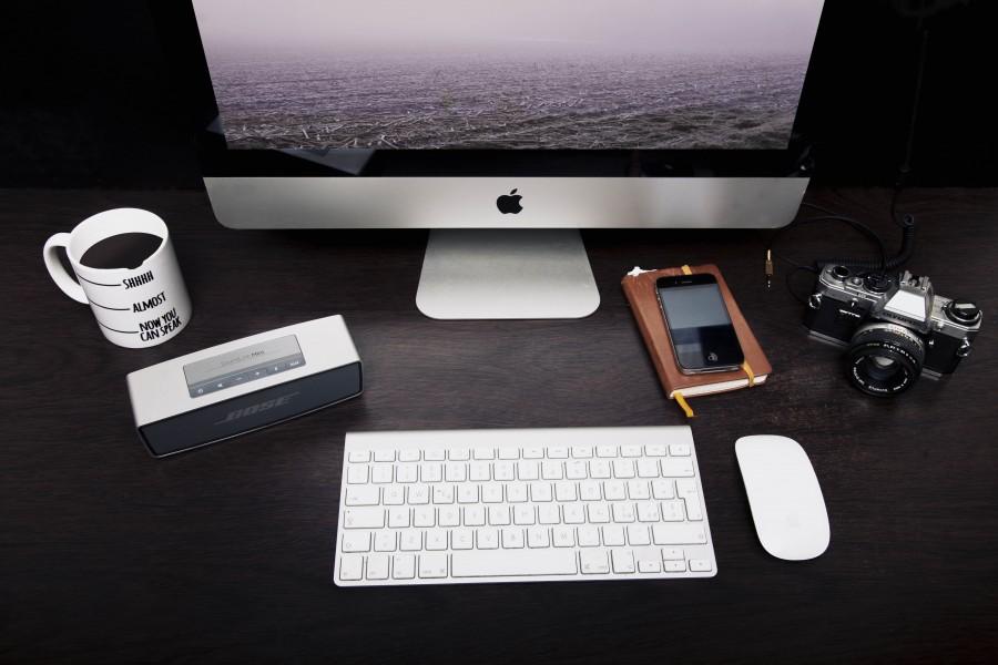 splitshire, mac, tecnologia, monitor, ordenador, computador, nadie, cafe, taza, medida, camara, fotografia, diseo, trabajo, escritorio,