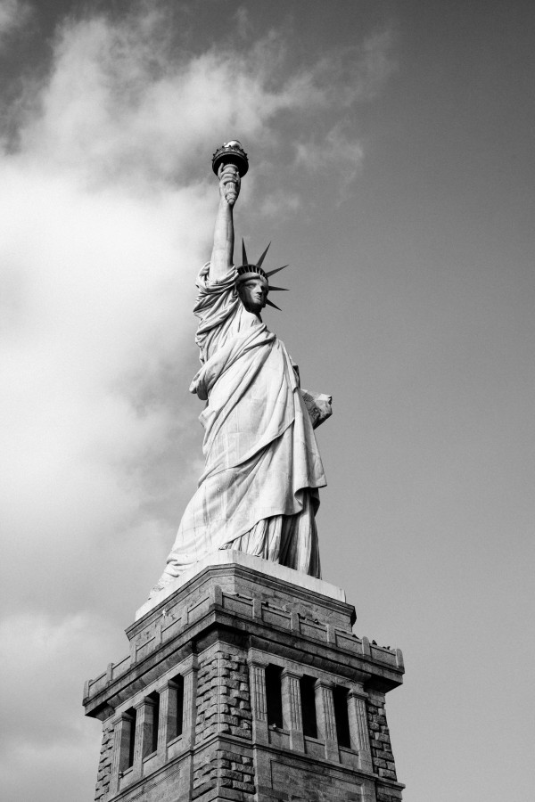 New York, United States, Usa, North America, monumento, estatua de la libertad, estatua, libertad, blanco y negro,