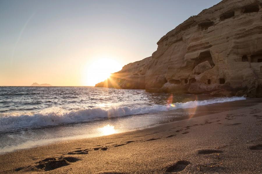 playa, nadie, atardecer, paisaje, costa, puesta de sol, paisaje,