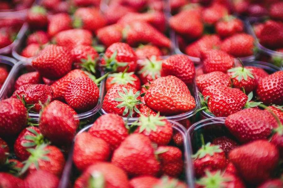 frutillas, fruta, caja, venta, rojo, fresco,