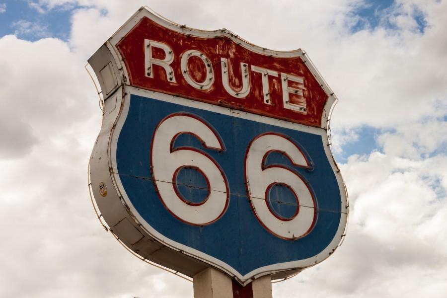 usa, estados unidos, usa, cartel, letrero, señal, oeste, carretera, concepto, Route 66