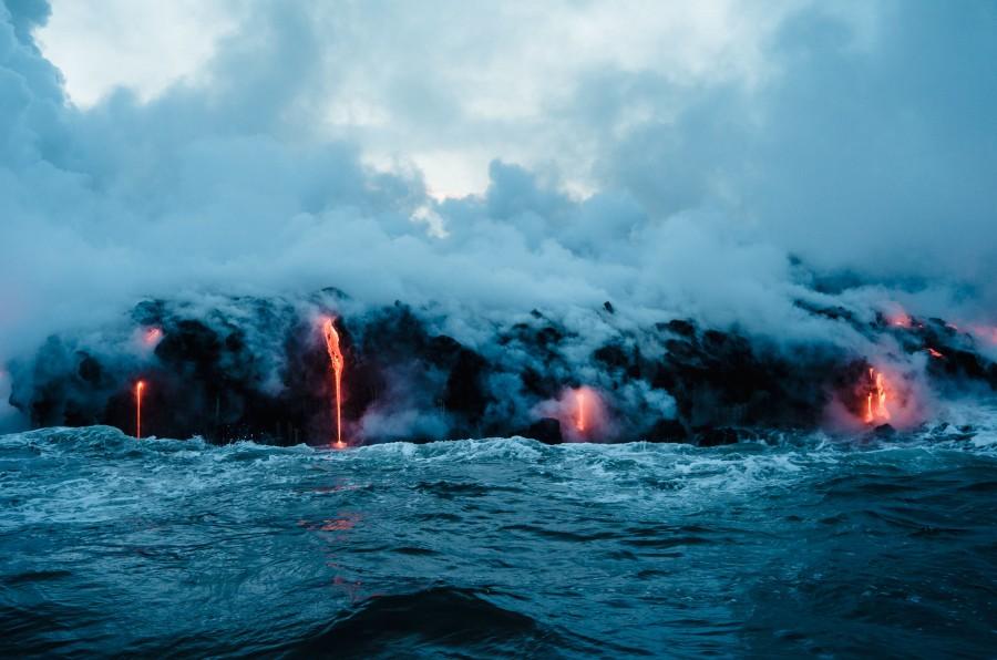 lava, erupcion, volcanico, volcan, caliente, fundido, naturaleza, evento, mar, vapor, calor, magma, fondos de pantalla hd, fondos de pantalla 4k