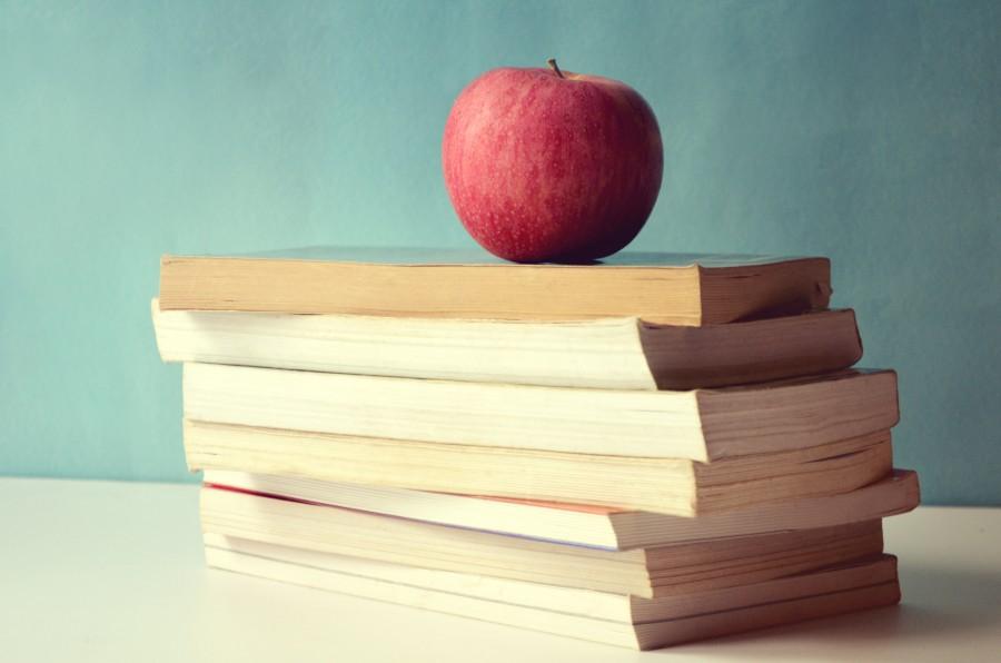 educacion, manzana, fruta, libro, libros, concepto, escuela, colegio,