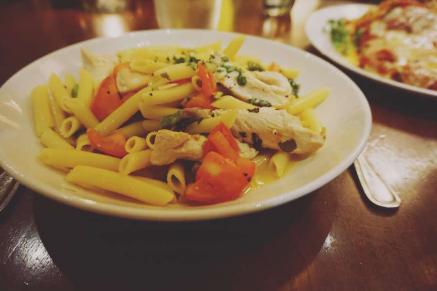 comida, pasta, italiano, cena, mediterráneo, placa, penne rigate, restaurante