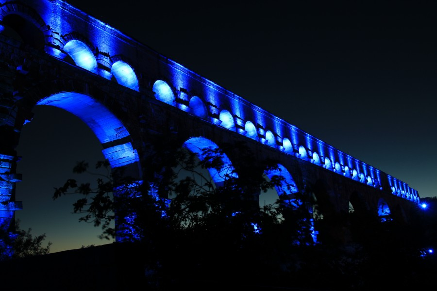pont du gard, francia, puente, aqaedukt , azul, noche, iluminado, paisaje