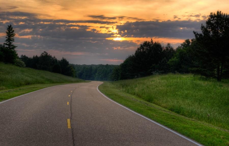 ruta, carretera, paisaje, atardecer, nadie, asfalto, campo, paisaje,