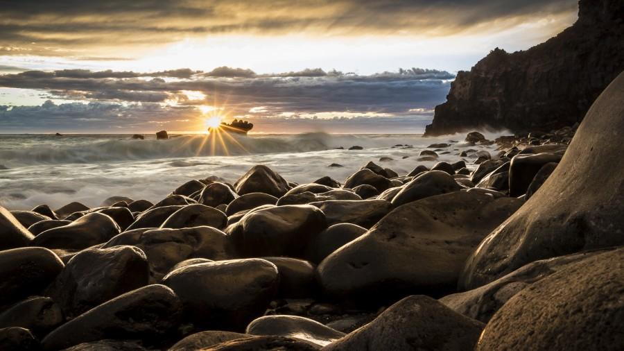 amanecer, marina, nueva zelanda,  paisaje , fondo de pantalla hd, rocas, mar, barco, sol, nubes