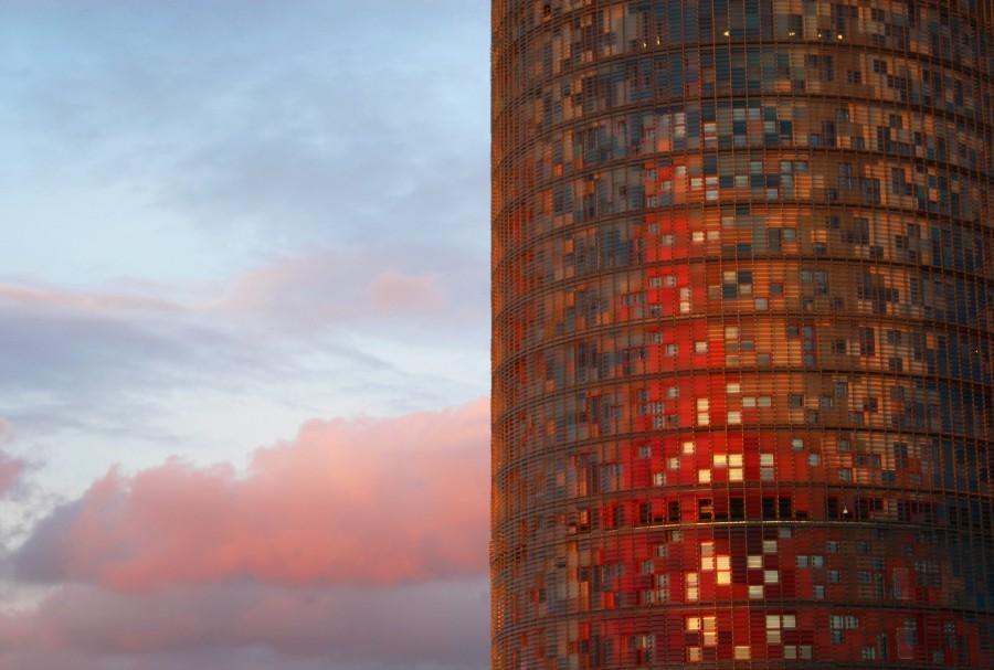edificio, arquitectura, rojo, atardecer, dia, moderno, espejado,