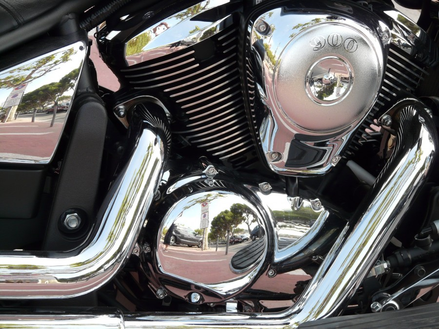 motocicleta, cromo, cromado, motor, mecanica, escape, metal, brillante, vehiculo, metalico, plata, plateado, kawasaki vulcan 900, kawasaki, vulcan 900, vulcano,