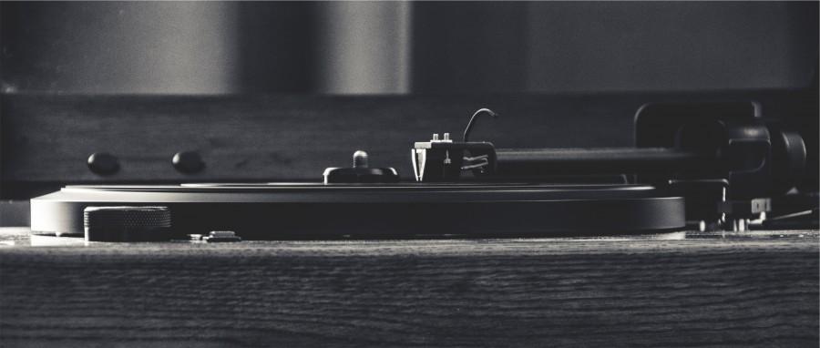 placa giratoria, expediente, vinilo, aguja, brazo, musica, instrumento musical, vintage, blanco y negro, nadie, tocadiscos,