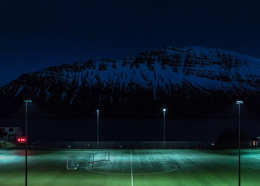 estadio, futbol, deporte, montañas, noche, Fondo de Pantalla